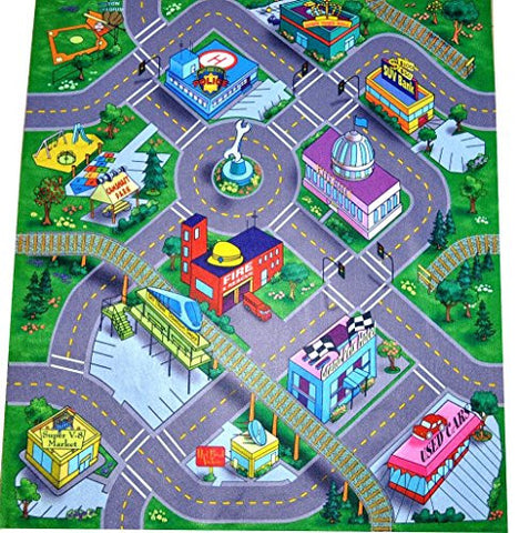 """Downtown"" Felt Play Mat with Train Track and Roads"