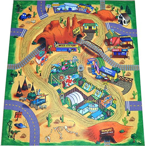 """Wild West"" Cowboys, Indians, Desert Play Mat with Train Tracks and Tunnels"