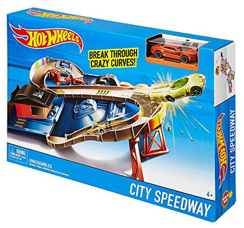 (Bundle Of 2) 1-Hot Wheels Break Through Crazy Curves! City Speedway Comes With 1 Hot Wheel Car, 1 - 2017 Marvel Avengers Calendar