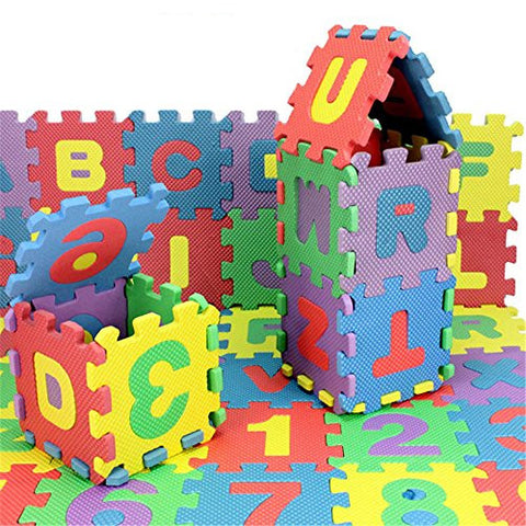 36 pcs EVA Educational Puzzle Foam Mat Interlocking Alphabet & Number - 36 Small Blocks