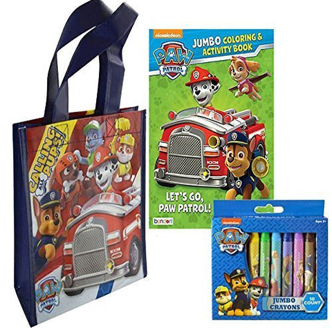"""Let's Go Paw Patrol"" Activity Set! Includes Jumbo Coloring Book & Paw Patrol 10pk Jumbo Crayons! Plus Bonus Paw Patrol Activity Grab & Go Travel Tote Bag!"