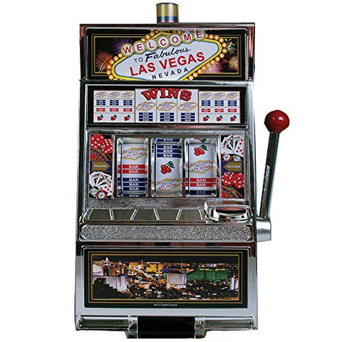 (Set) Fabulous Las Vegas Nevada Jackpot Slot Machine Coin Bank w/ Batteries