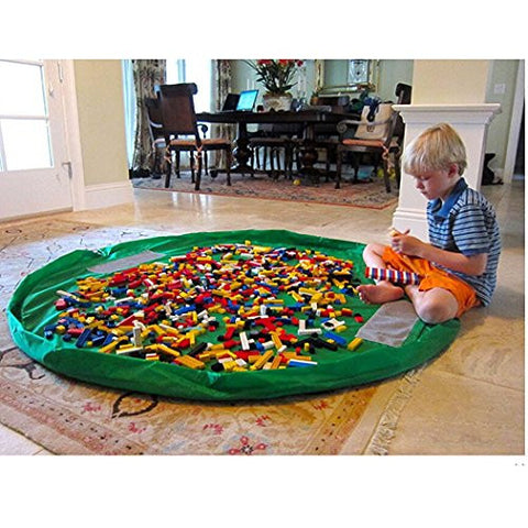 59 Inches Diameter Baby Kids Play Floor Mat Toy Storage Bag Organizer Green