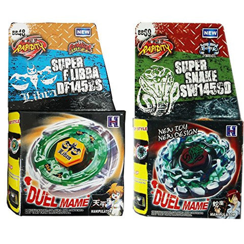 2x Beyblades, Flame LIBRA T125ES Metal Fusion + Poison Serpent BB-69 in RETAIL PACKAGING
