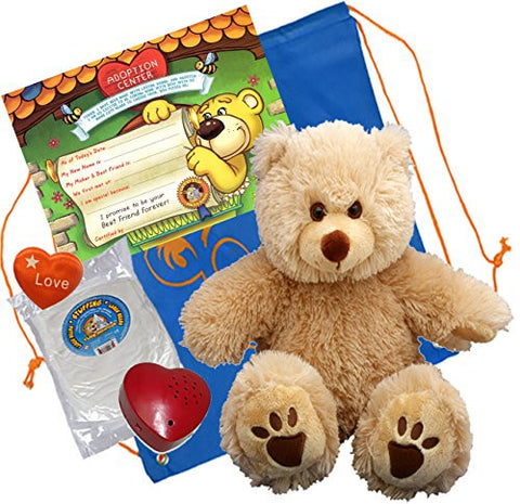 """Goldie"" a very Furry Bear (16"" Plush) w/Heart shaped Voice recorder (No-Sew DIY Build-a-Plush Kit)"