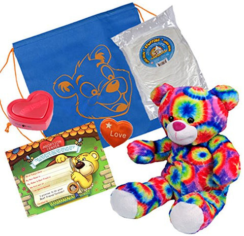 """Rainbows"" the Bear (16"" Plush) w/Heart shaped Voice recorder (No-Sew DIY Build-a-Plush Kit)"