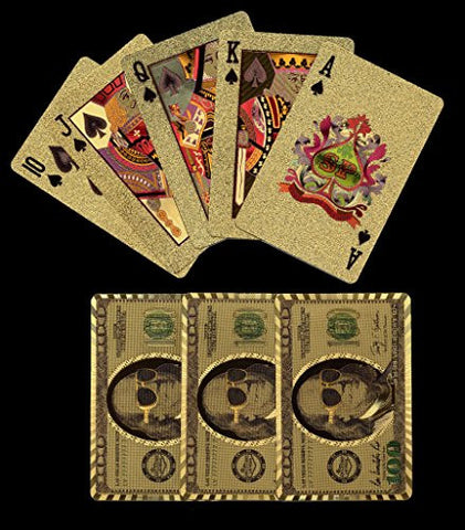 (1) New Gold tone Plastic $100 US Bill Playing Cards Boxed with Jokers.