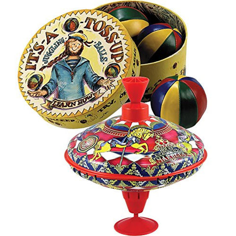 (Set) Classic Humming Carousel Tin Top Toy And It's A Toss Up Juggle Balls