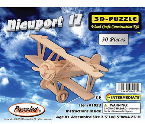 """ABC Products"" - Primitive Plane ~ Minature Balsa Wooden 3-D - Aircraft Kit (Nieuport 17 - German Fighter (1917) Biplane Model - Helps Kids Develop Coordination and Problem-Solving Skills)."