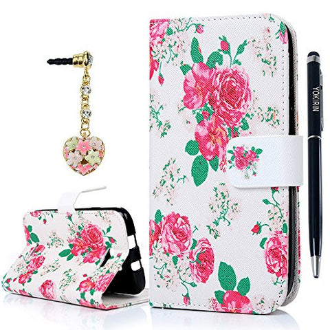 BLU Advance 5.0 Wallet Case, YOKIRIN PU Leather Pink Rose with Kickstand Credit Card Holder Magnetic Folio Flip Fully Protective Dual Layer High Impact Resistant Cover for BLU Studio 5.0 ll D532U