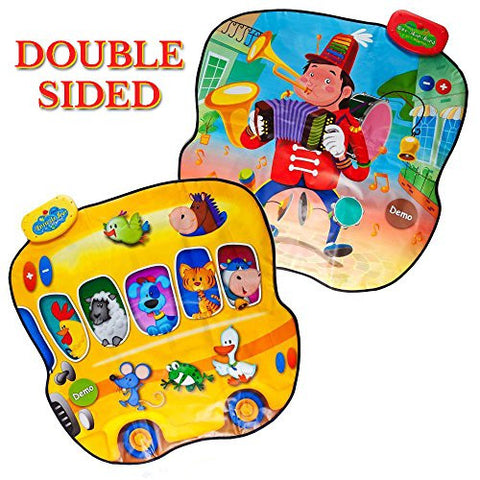 """Double Value"" Touch Sensitive Music Mat, ""Animal Bus & Full Orchestra"" with 20 Instrument & Animal Sounds Along with 6 Demo Songs & Volume Control, Great Toy for Kids & Toddlers by Dimple"