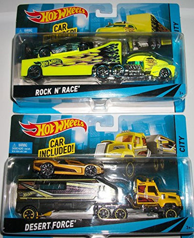 (2) Hot Wheelsruck and Trailers with Car INcluded/Desert Force/ Rock N Race