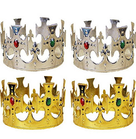 4 Pcs Plastic Kings Crown Fancy Dress Accessory