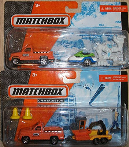 (2) Matchbox Trucks with Trailers Holding Snow Mobile and Backhoe / 2 Figureines included(Snow Monster and Man