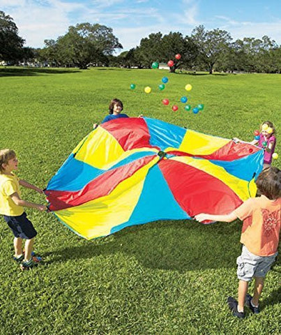 10' Diameter Rainbow Parachute With 24 Balls & Carry Bag, Model: , Toys & Play