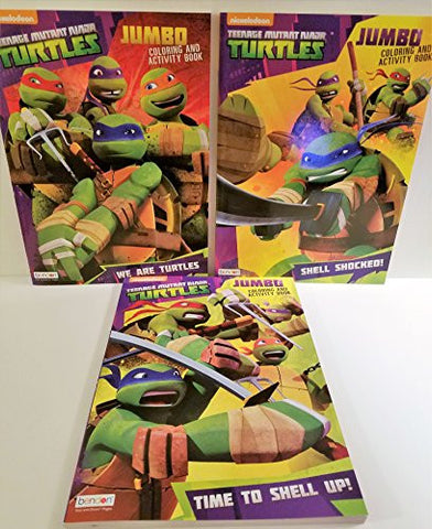 3 Teenage Mutuant Ninja Turtle Jumbo Coloring & Activity Books - Time to Shell Up! We Are Turtles, Shell Shocked!