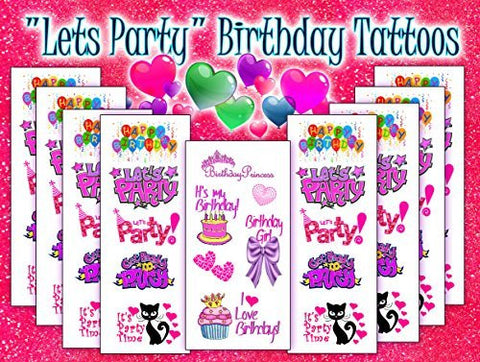 """Lets Party"" Birthday Temporary Tattoos"