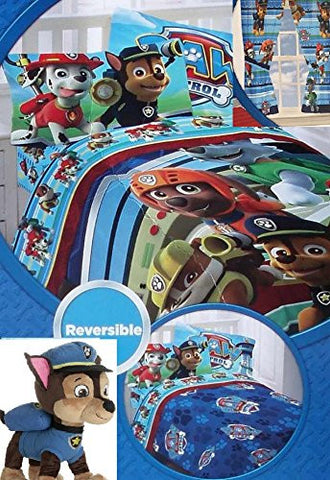 10PC Paw Patrol Full Bedding Set: Comforter, Full Sheets, Curtains, Chase Pillow Buddy Plush Toy