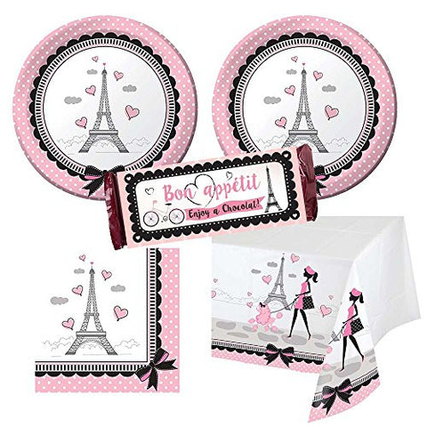 02dp Party in Paris Party Supplies - 16 guests - cake plates, napkins, tablecover plus chocolate wrappers