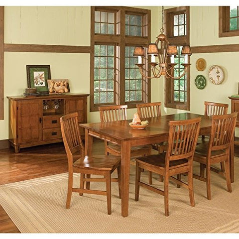 7-piece Rectangular Dining Set, Expandable w/Leaf, Hardwood Construction (Cottage Oak)
