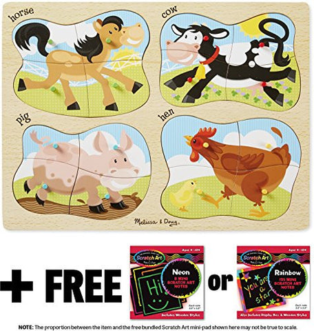 4-in-1 Farm Theme Peg Puzzle + FREE Melissa & Doug Scratch Art Mini-Pad Bundle [98588]