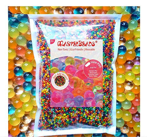 38000 beads (16oz) (500g) [Value Pack] MarvelBeads Water Beads Gel Pearls-12 Color Rainbow Mix-Makes 15-20 gallons of Beads -Great for Wedding decor, Home decor, Vase fillers, Orbeez refill