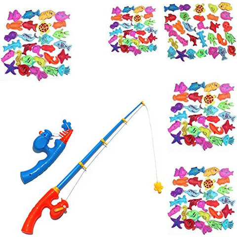 100Pcs Waterproof Magnetic Floating Fish Toys & 2Pcs Large Magnetic Telescopic Fishing Rods Bath Toys Fishing Set