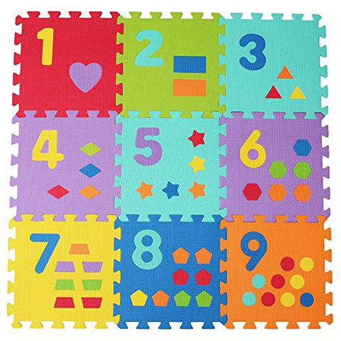 30*30cm Infants and Children Crawling Mat EVA Foam Digital Puzzle 9pc