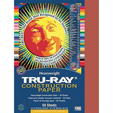 """Tru-Ray Construction Paper, 76 lbs., 12 x 18, Holiday Red, 50 Sheets/Pack"""