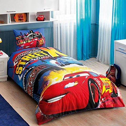 100 % Turkish Cotton Disney Cars Nitroade Street X Lightning Mcqueen Single Twin Size Duvet / Quilt Cover Bed Set Sheets Bedding Linens