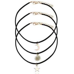 Velvet Choker Necklace With Star Moon Sun Pendant - SaleGrabberStore