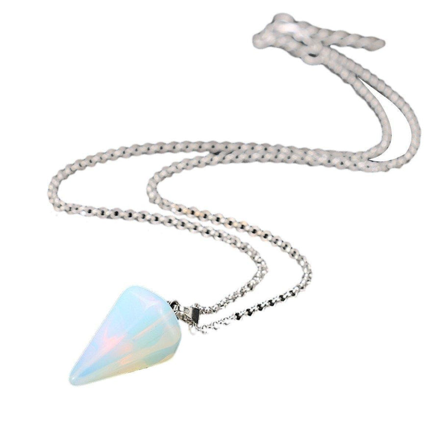 Natural Gemstone Crystal Healing Silver Stone Bead Pendant Necklace Jewelry Gifts For Friends