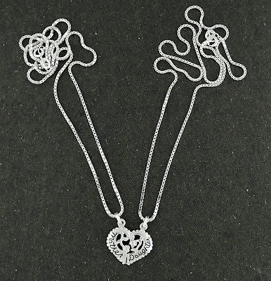 Heart mother daughter pendants necklace sterling silver 18 chain 2 heart mother daughter pendants necklace sterling silver 18 chain 2 pi corinna maria aloadofball Images