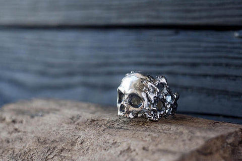 Sterling Silver Skeleton Skull Biker Ring