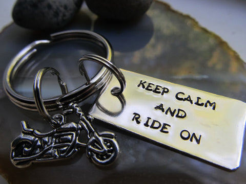 Motorcycle Hand Stamped Keep Calm Keychain