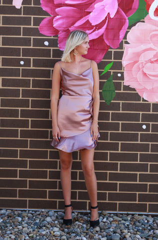 RUFFLE OUT SATIN ROSE WRAP DRESS