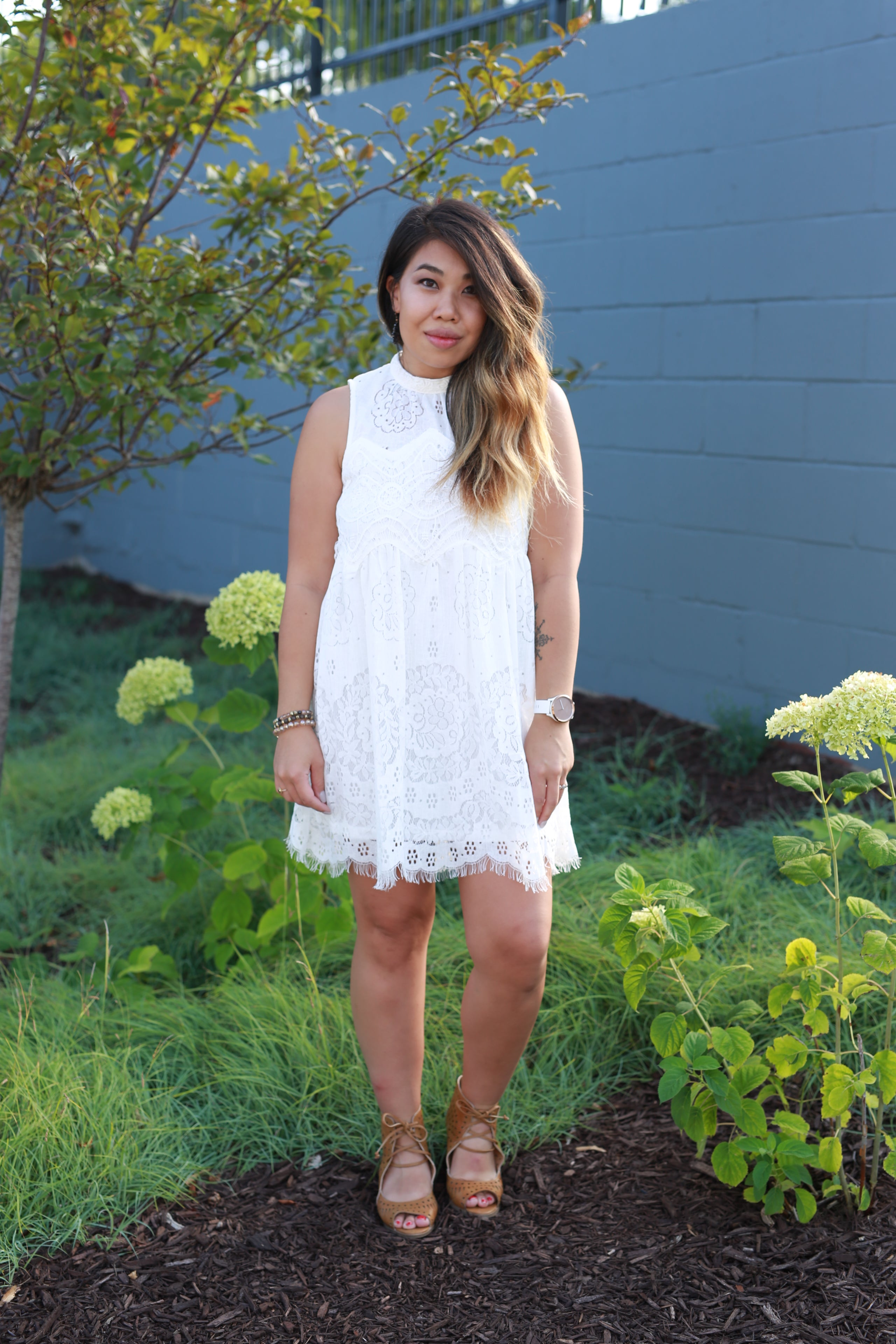 COVER ME IN LACE WHITE DRESS