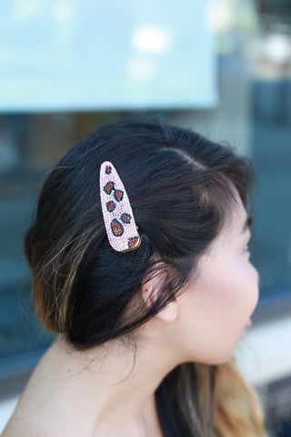 PINK LEOPARD CRYSTAL HAIR CLIP