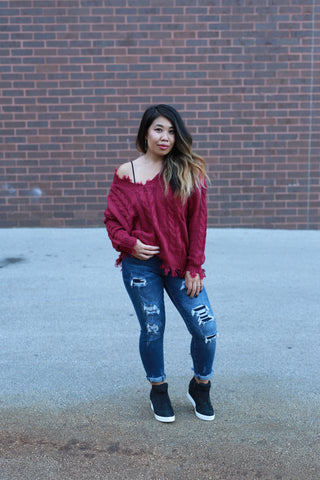 KNIT'S NOT OVER BURGUNDY SWEATER