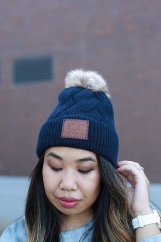 CC BEANIE: GEOMETRIC CABLE KNIT NAVY