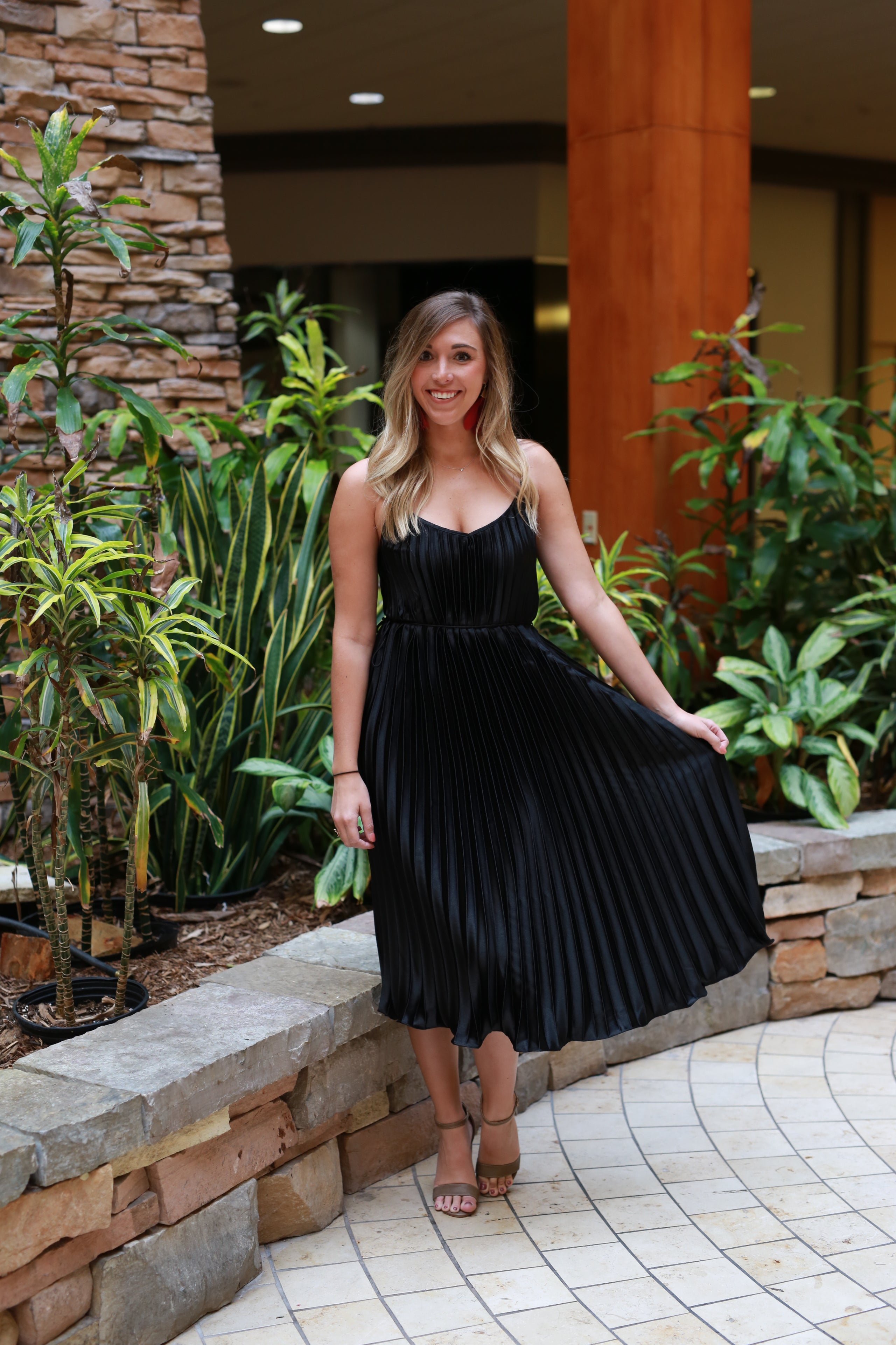 PLEAT ME HALFWAY BLACK DRESS
