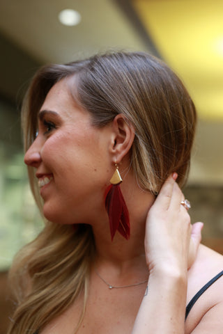 BIRDS OF A FEATHER BURGUNDY EARRING