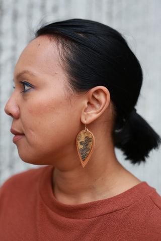 METALLIC CAMO LEATHER EARRINGS