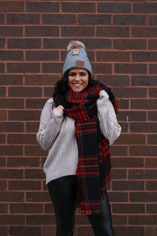 OVERSIZED PLAID SCARF: BLACK & RED