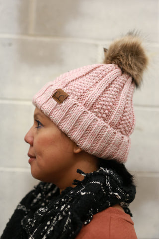 CC BEANIE: RIBBED POM ROSE