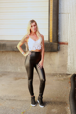 FRIEND OR FAUX BLACK LEATHER LEGGINGS