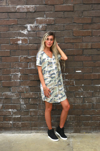 HIDING AWAY CAMO SHIFT DRESS