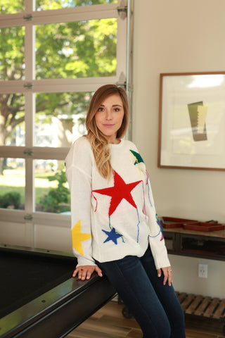 REACH FOR THE STARS WHITE SWEATER
