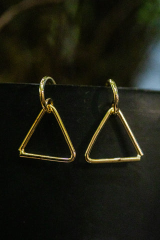 TRIANGLE DROP GOLD EARRINGS