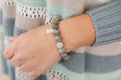 GREY MARBLE NATURAL STONE BEADED BRACELET